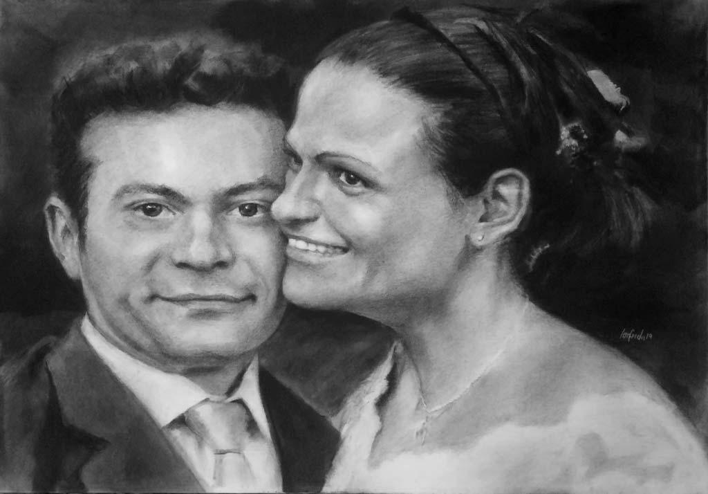 Ritratto su commissione a carboncino su tela Elisa e Davide