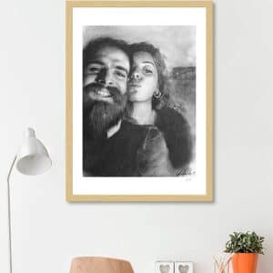 ritratto di coppia matita su carta 50x80