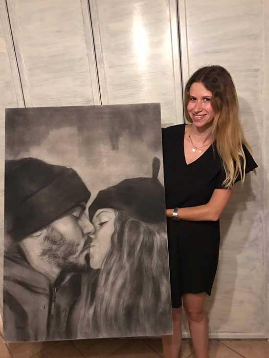 Consegna ritratto su commissione il bacio di Simone