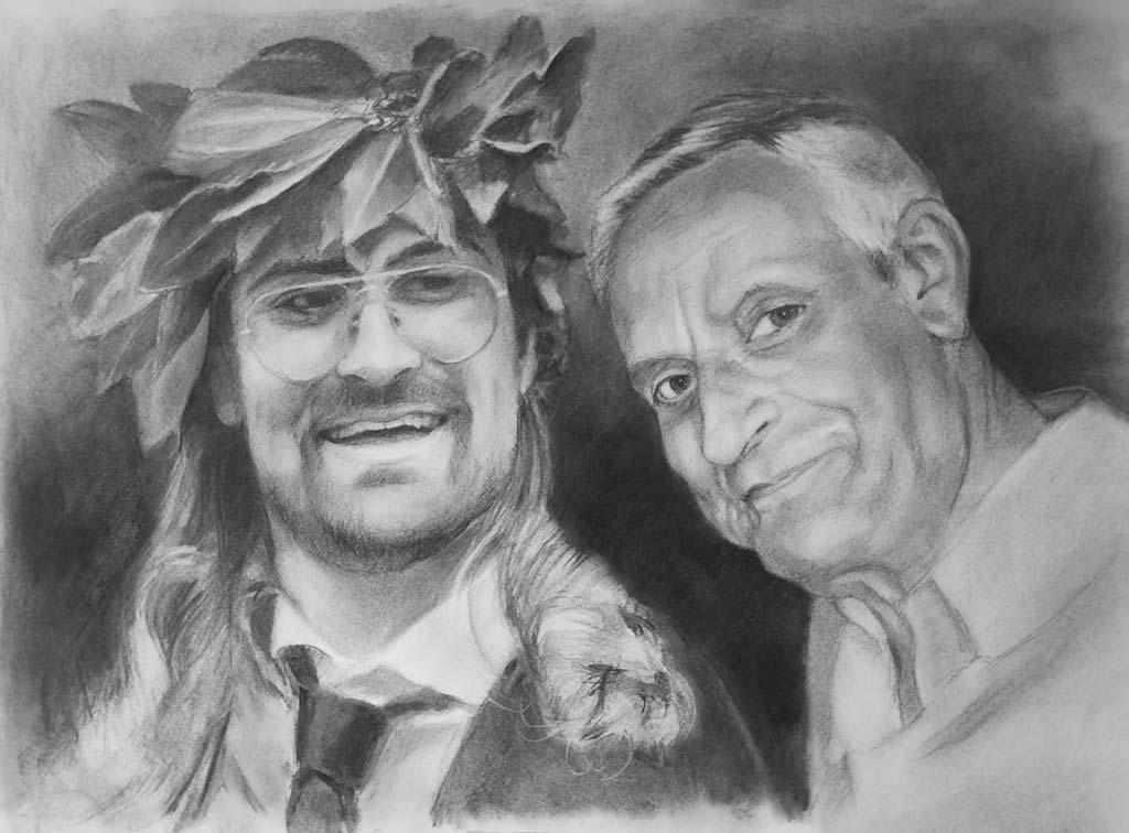 Ritratto su commissione a matita Alessandro e Il Nonno Regalo di laurea